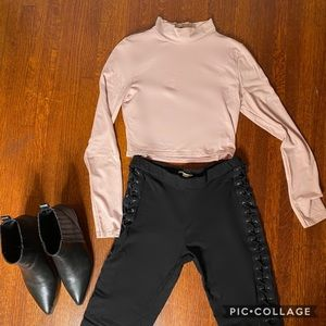 Carli Babel X Misguided blush mock neck crop top